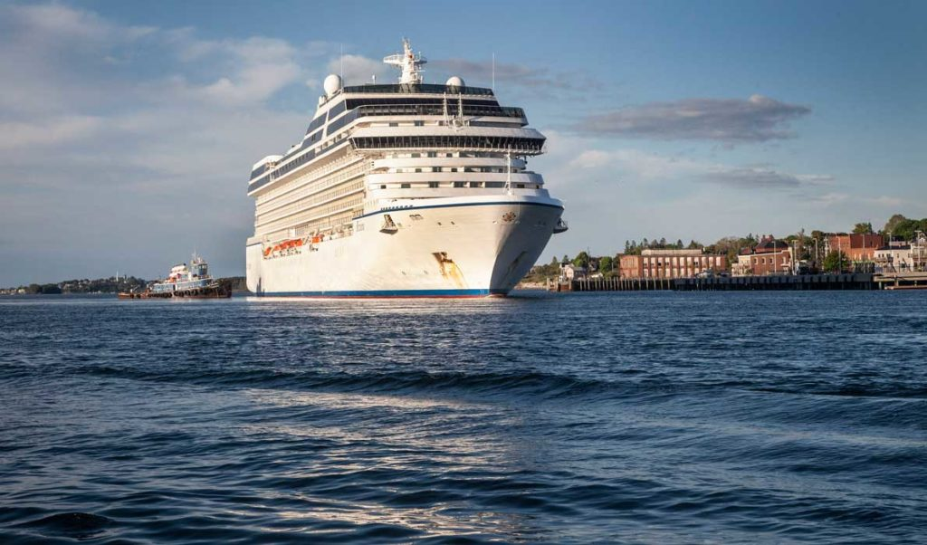 The 785-foot-long cruise ship Ocean Rivieria arrived at Eastport's breakwater on Sunday