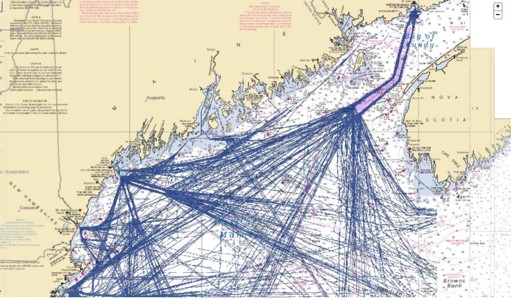 A map showing tanker routes through the Gulf of Maine.