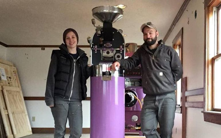 Carley Mayhew and Mott Feibusch are the co-owners of Monhegan Coffee Roasters