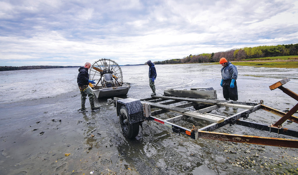 Launching an airboat in Maquoit Bay.