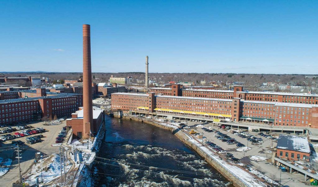 A drone view of the 1-million-square-feet of mill space in Biddeford.