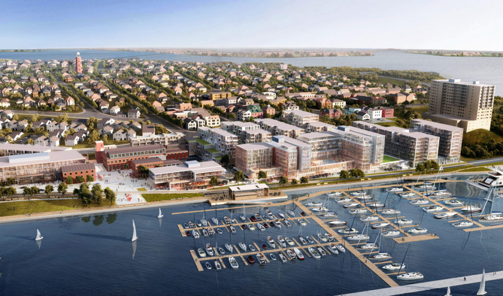 An artist's rendering of the Fore Points Marina