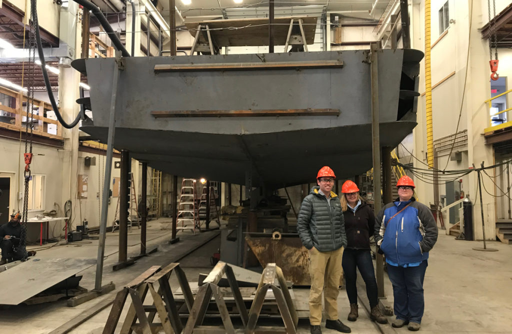 The Independence under construction at Washburn & Doughty Associates in East Boothbay. From left are the CTC's Matt Ridgway
