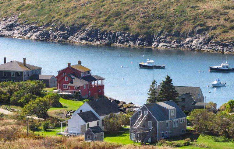 The view from above Monhegan village.