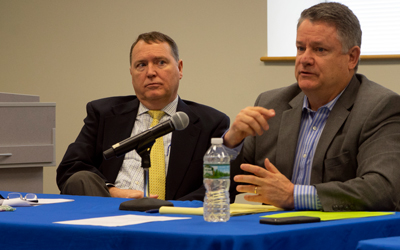 DOT Commissioner Bruce Van Note, right, and DOT attorney Jim Billings.