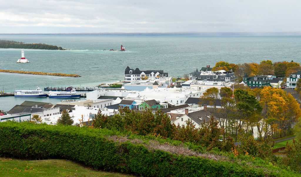 A view of the village area on Michigan's Mackinac Island.