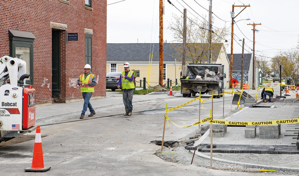 Sidewalk work on Winter Street in Rockland this spring.