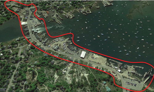 The area within the line is the subject of Vinalhaven's downtown master plan.