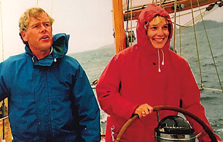 Jon Cheston and Nancy Hauswald aboard their boat