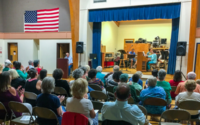 The historical society inaugural fundraiser included live music at the school.