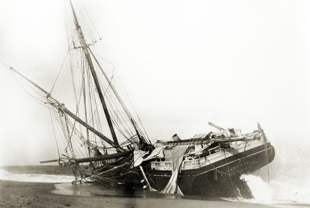A dramatic image of a shipwreck from the Ed Coffin collection of photographs