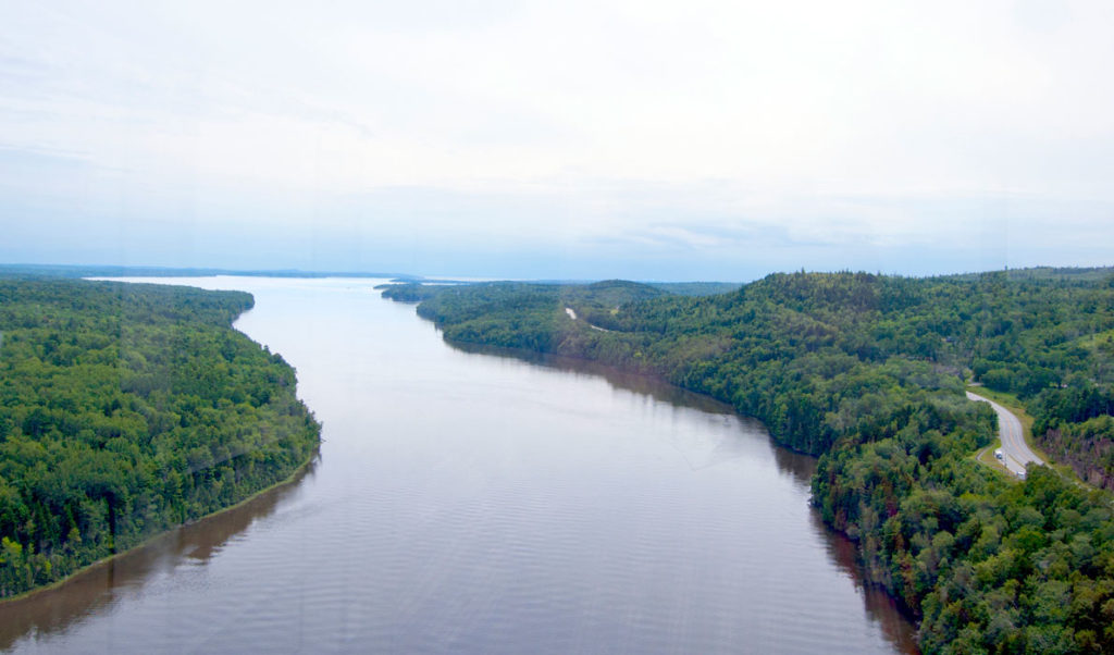 The Penobscot River as seen from the Penobscot Narrows Bridge and Observatory in Prospect.