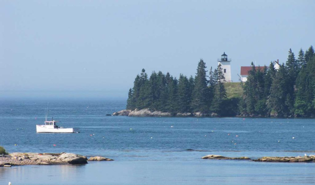 A view of Swan's Island's Burnt Cove Lighthouse.