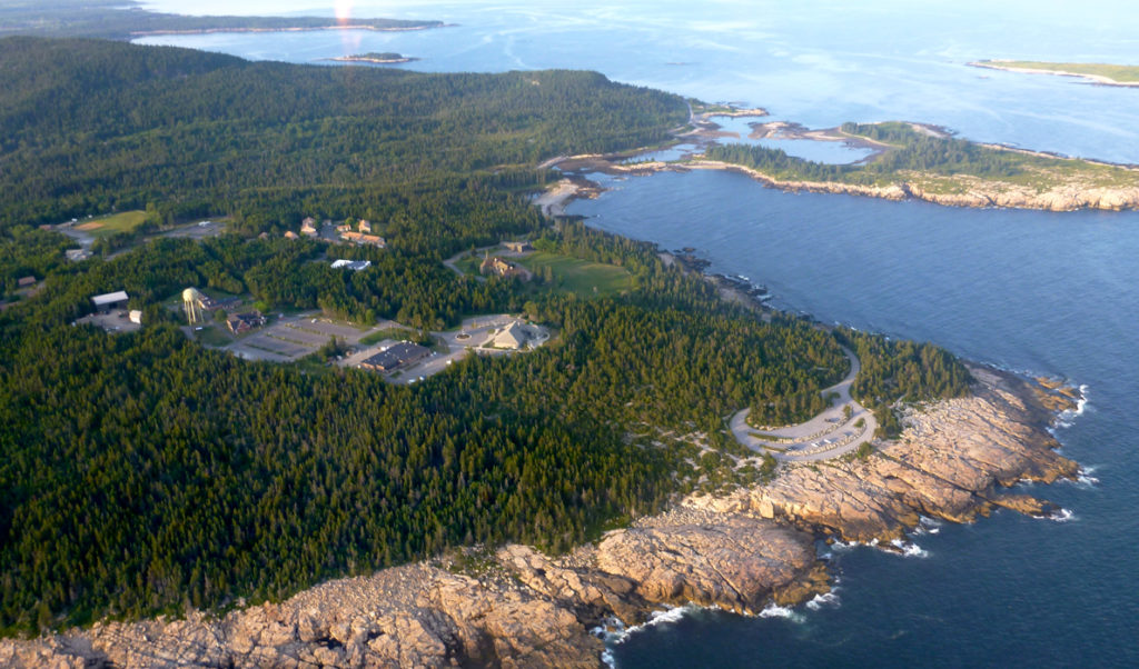 An aerial view of the tip of Schoodic Peninsula.