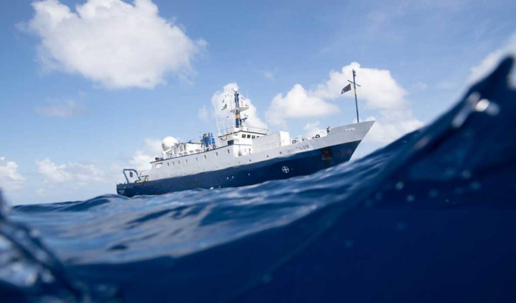 E/V Nautilus off Nikumaroro Island.
