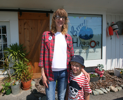 Mandie Schaper and her son Xavier are seen here at Brrr! Harbor, which serves Hawaiian style shaved ice. Mandie and her husband, Brian Schaper, opened the business in Town Hill after moving to Mount Desert Island from Kansas.