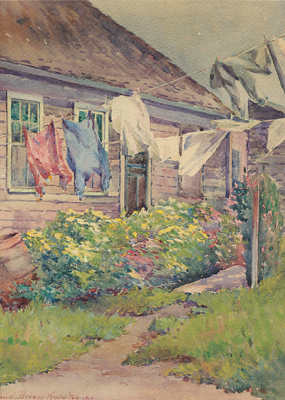 Sea Captain's Cottage and Wash, Monhegan, by Maud Briggs Knowlton.