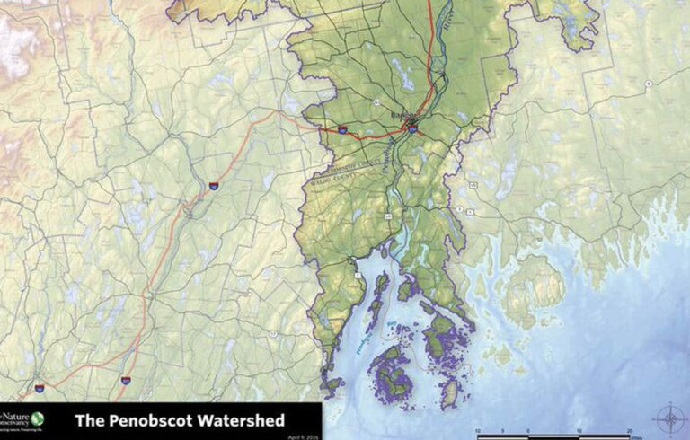 The southern half of the Penobscot watershed.