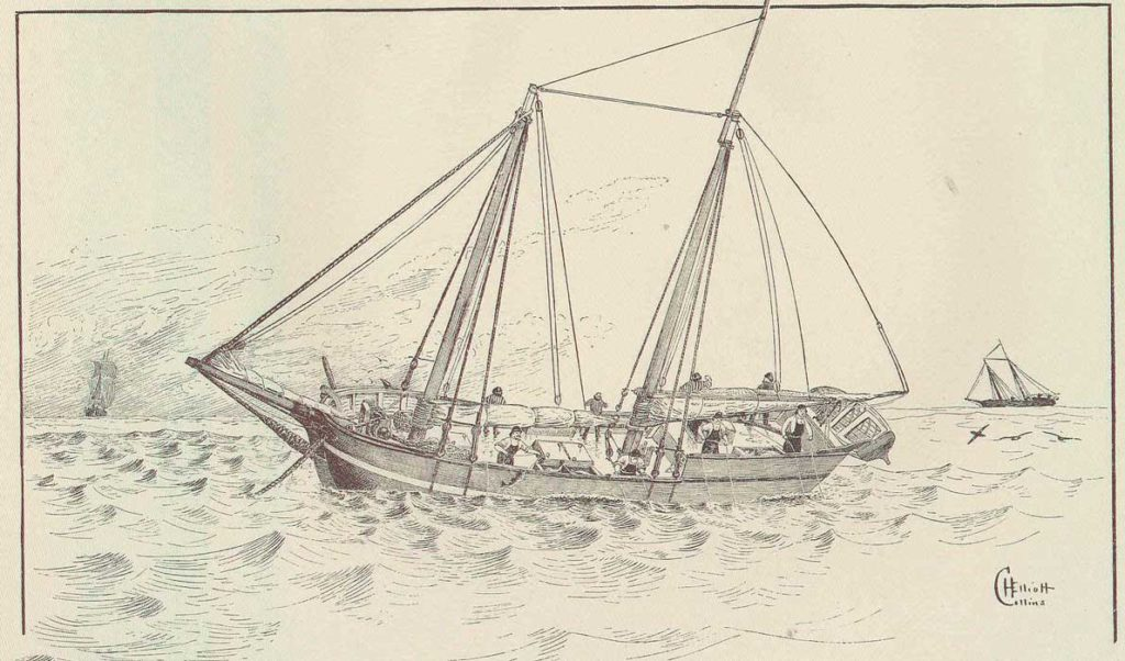An illustration of a cod schooner at sea in the mid 1800s.