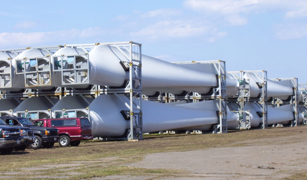 Wind turbine blades stacked at the Port of Eastport.