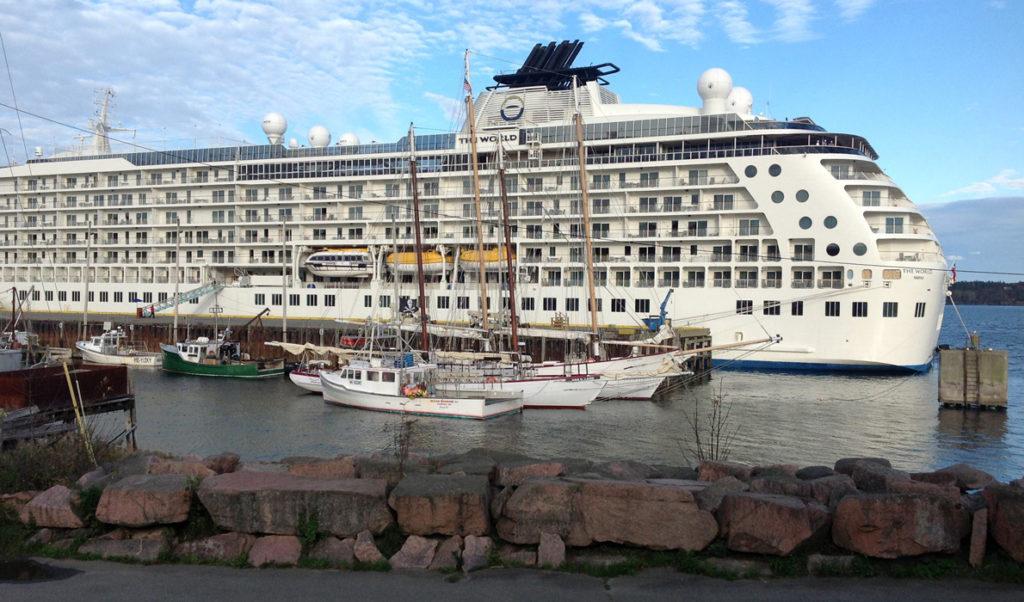A cruise ship at Eastport's breakwater pier.