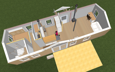 An overview of the tiny house designed for a veteran to live in Cherryfield. IMAGE COURTESY SPURLING DESIGN