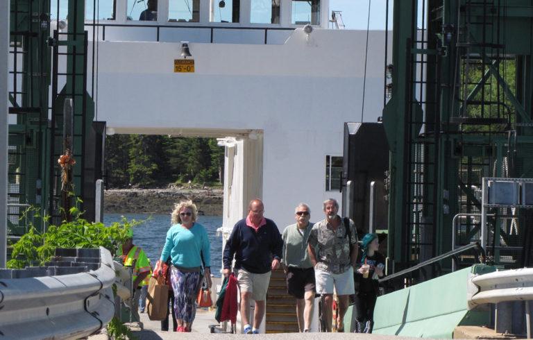 Passengers disembark the Islesboro ferry in Lincolnville.