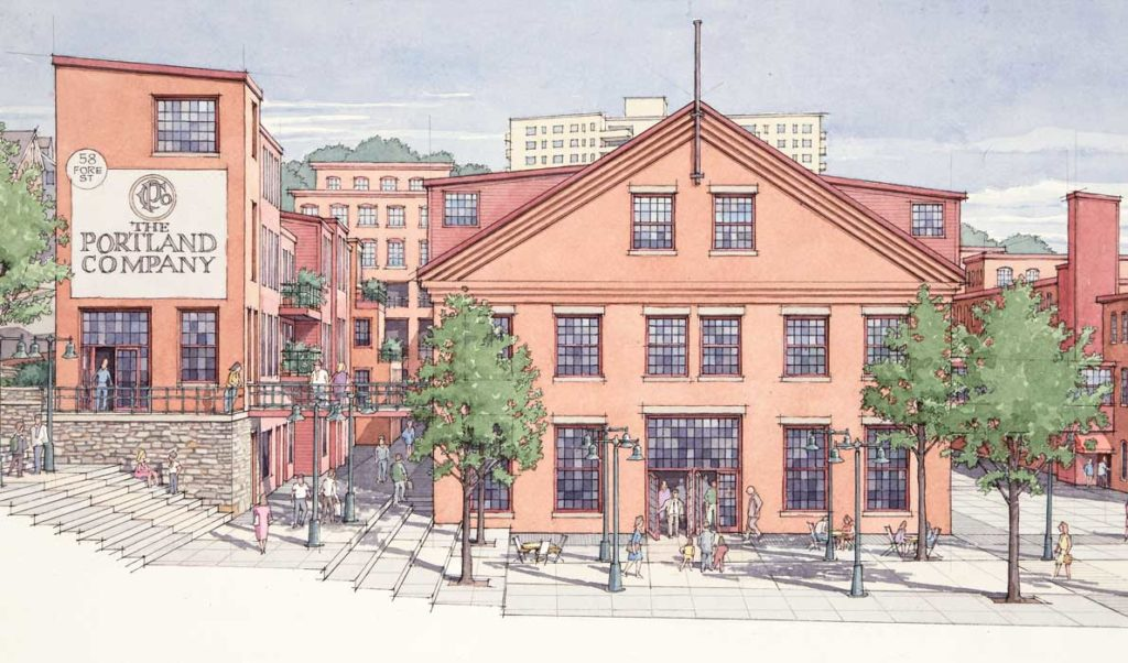 An artist's depiction of what the redevelopment of the Portland Co. site will look like.