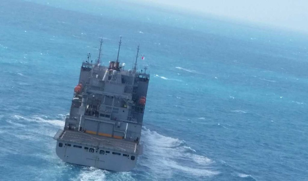 The USNS Washington Chambers photographed from a helicopter.