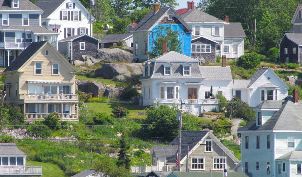 Houses clustered on the hillside in Stonington.