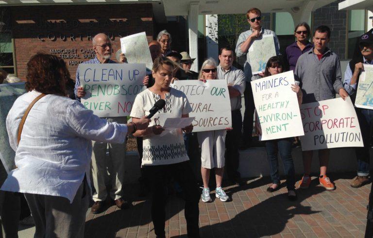 Protestors outside Bangor's federal building.