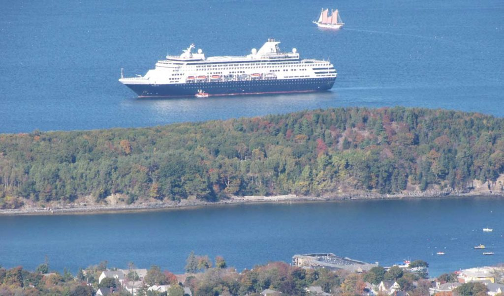 A cruise ship as seen from Cadillac Mountain.