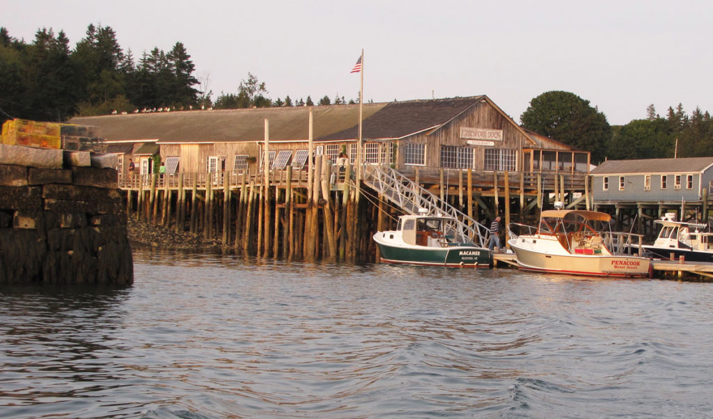 The Islesford Dock restaurant as seen from the water.