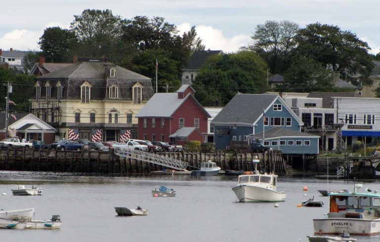 Vinalhaven village as seen from the harbor.