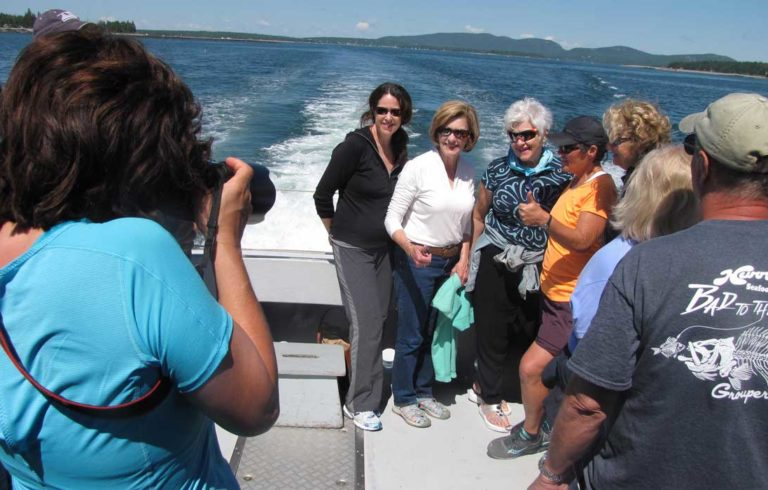The boats to and from the Cranberry Isles are crowded in summer.