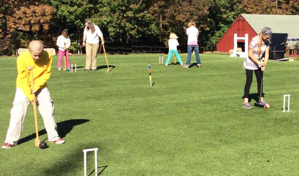 Island students learnt to play golf croquet.