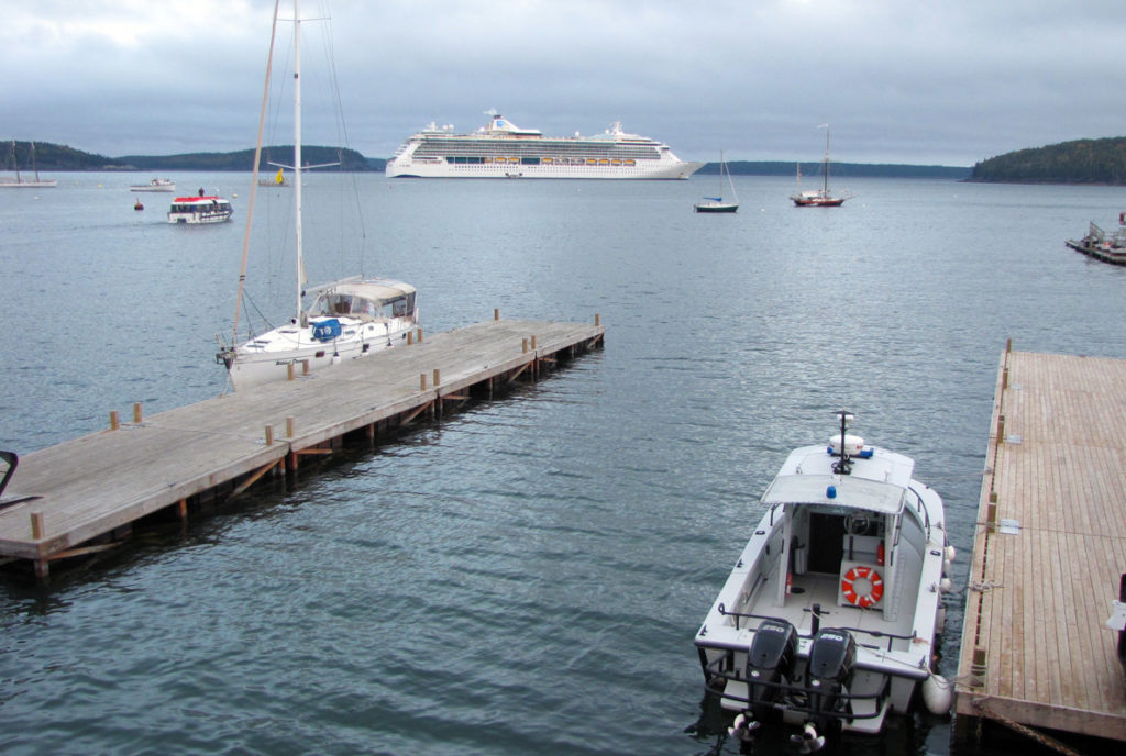 A view from the town landing—and not the former ferry terminal—of a cruise ship off Bar Harbor.