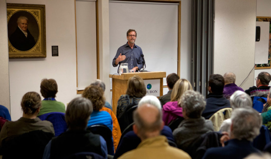 Joel Clement speaks in Falmouth.