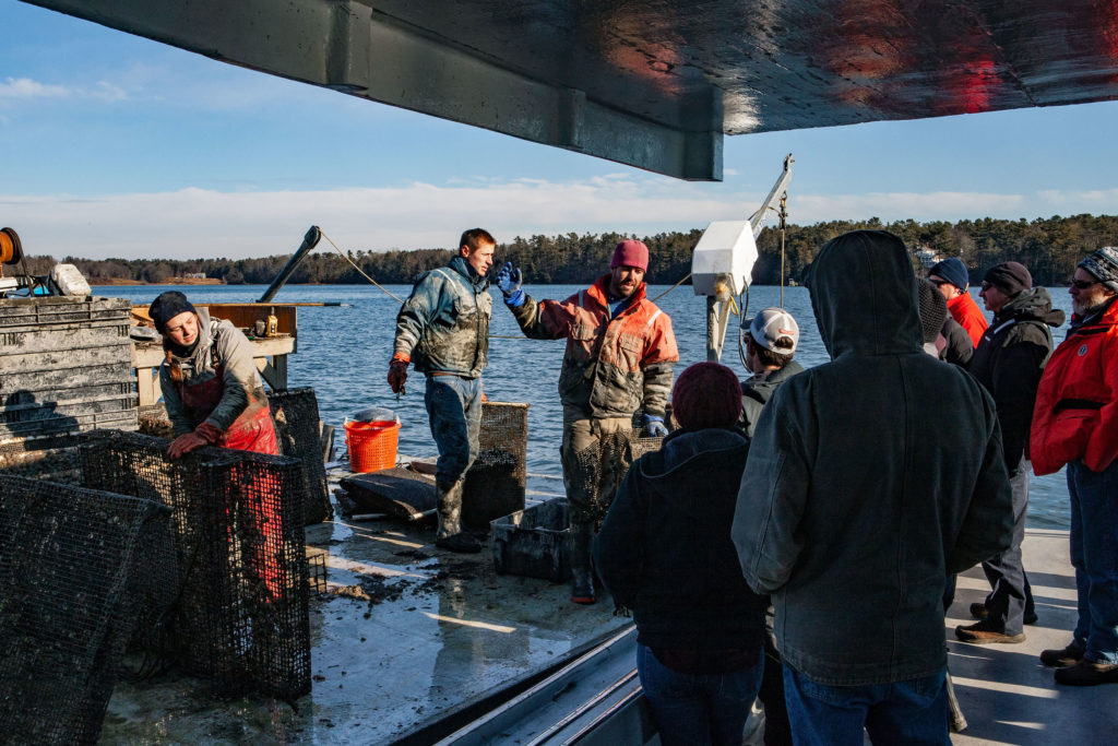 Participants in the Island Institute's Aquaculture Business Development program visit Basket Island Oyster Company during Industry Day in December.