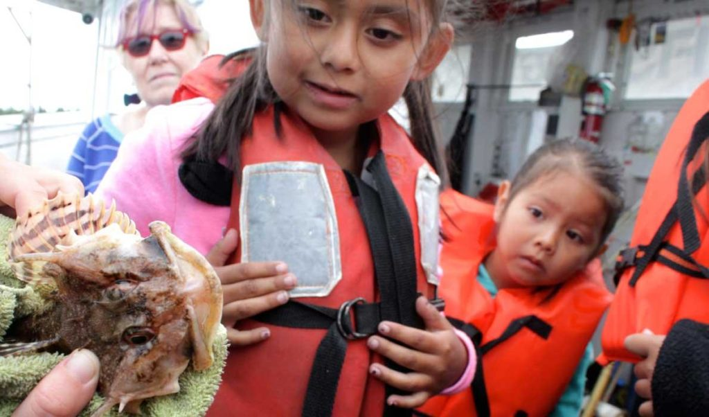 Students from the Blueberry Harvest School learn about sustainable fisheries during an August 2014 trip in Frenchman Bay.