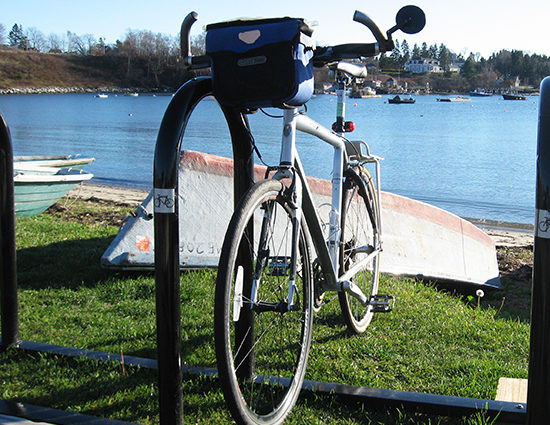 A bike rack near the shore in Harpswell.