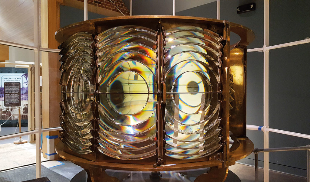 A Fresnel lens on display.