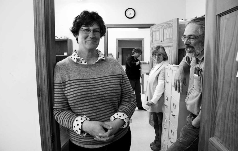 Eastport City Manager Elaine Abbott with staff. From left: Abbott