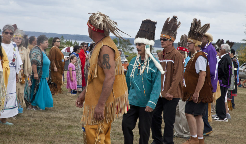 Members of the Passamaquoddy Tribe celebrate with a dance.