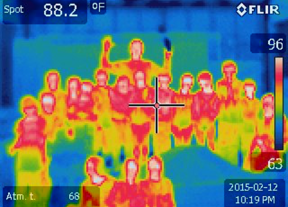 Long and Cliff Island students pose for a thermal camera photo during the Energy Day on Long Island.