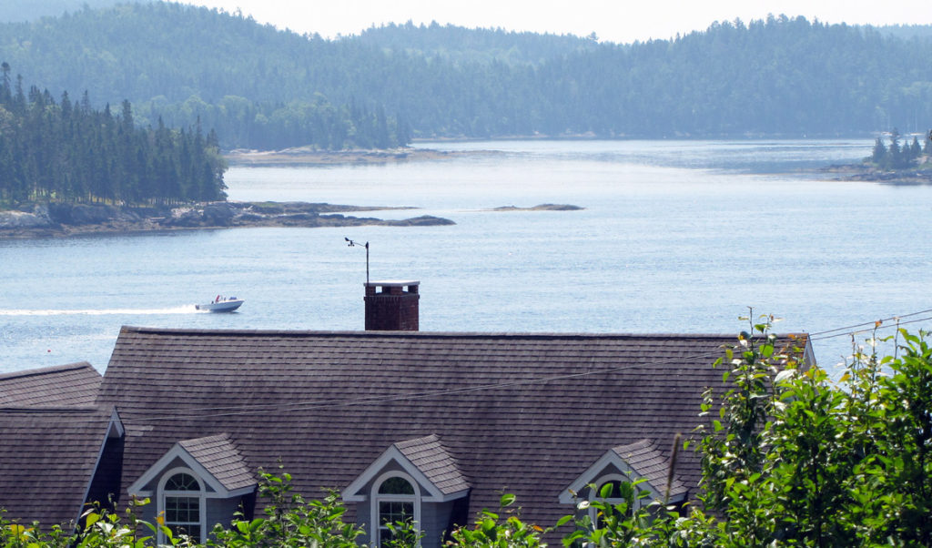 A view of the Bagaduce River over Castine rooftops.