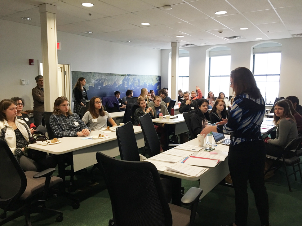 The Island Institute's large conference room served as home base for the 30+ island high school students and teachers during Career Day on March 29