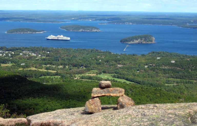 A cruise ship seen from the North Ridge Trail on Cadillac Mountain.