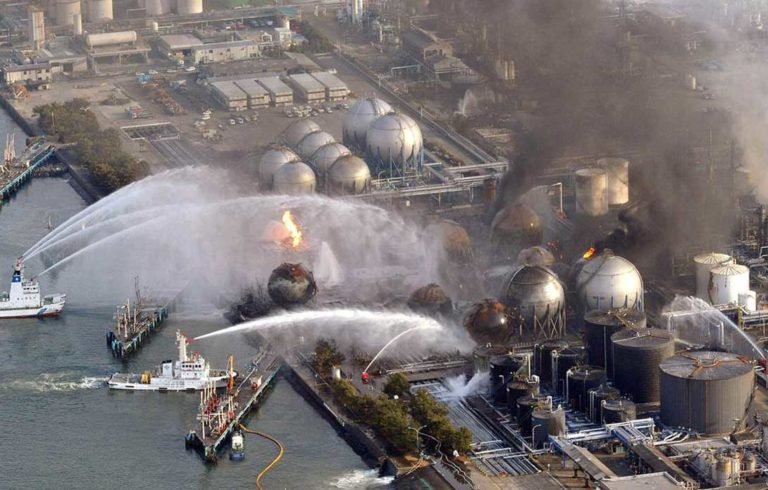 The Fukushima nuclear plant in flames.