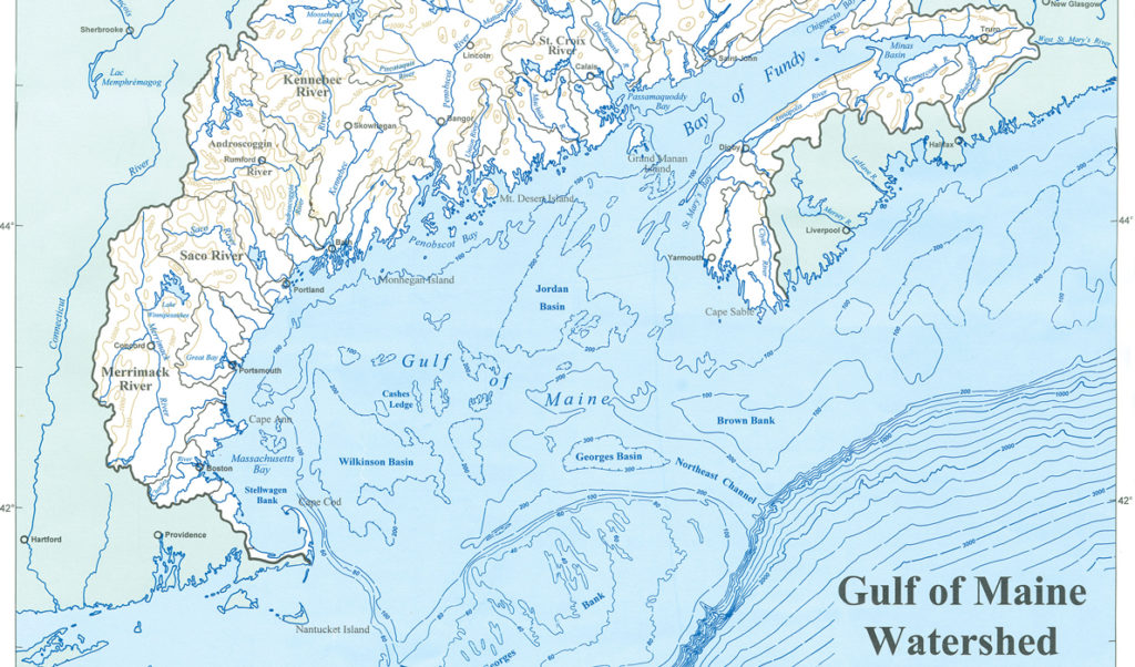 A map showing part of the Gulf of Maine's watershed.